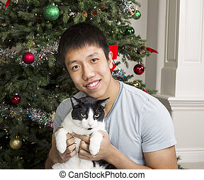 Family Pet with Master during the Holidays