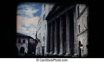 Church and steeple in Assisi - Vintage 8mm. Original footage...