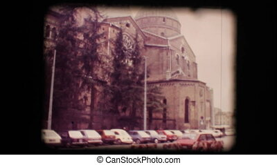 View of church in Padova - Vintage 8mm. Original footage...
