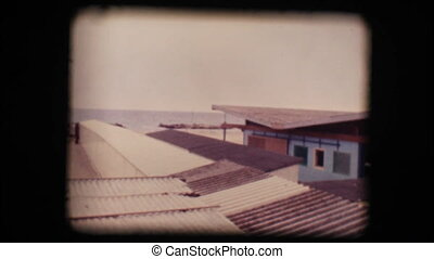 Vintage 8mm. Empty seaside resort
