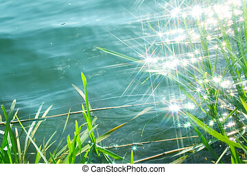 sun light sparkle on the calm water in river