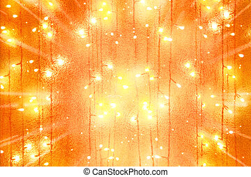 garlands bulb lights and scattering from center rays...