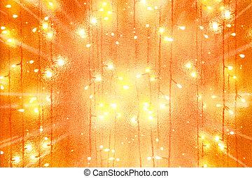 guirnaldas, bombilla, luces, dispersión, centro,...