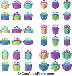 Gift holiday boxes - Set multi coloured gift boxes with a...