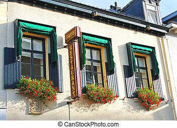 flores, janelas, restaurante, Valkenburg, Países...