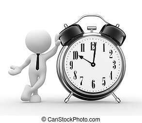 Clock - 3d people - man, person with a alarm clock. Deadline...