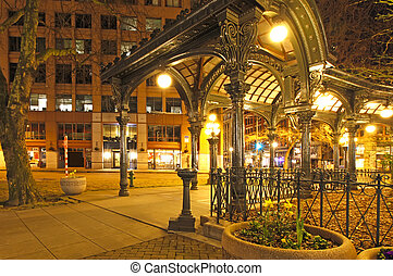 Pioneer square in Seattle at early spring night Empty street...