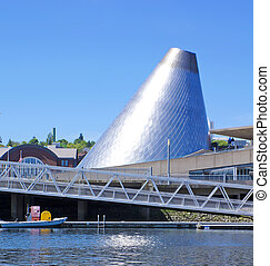 Tacoma downtown marina with Glass Museum dome