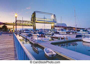 Tacoma downtown marina with bridge and pier. - Tacoma...