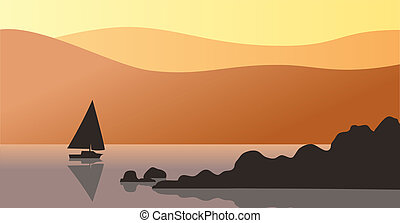 Rocks and sailboat - A silhouette of rocks and distant...