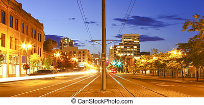 Tacoma downtown at night main street - Pacific Ave.