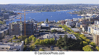 Seattle downtown, South Lake Union areal view from Virginia....