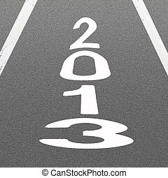 Signal Arrow and Word 2013 on Asphalt Road Background - The...