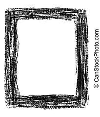Hand-drawn grunge frame - Hand-drawn black grunge textured...