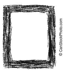 Hand-drawn grunge frame - Hand-drawn black grunge textured...