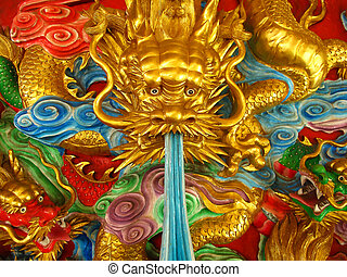 Three gold green and red chinese dragon