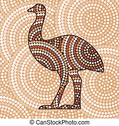 Aboriginal Art - Aboriginal emu dot painting in vector...