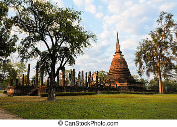 Sukhothai Historical Park at sunrise, Thailand