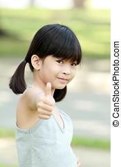 女の子, 幸せ, 親指, の上, アジア人
