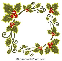 Christmas pattern with holly berry isolated on a white...