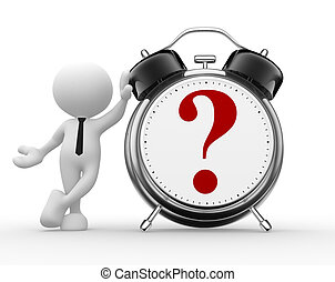 Question mark - 3d people - man, person with a alarm clock...