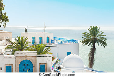 Sidi Bou Said - Traditional white and blue houses with a...
