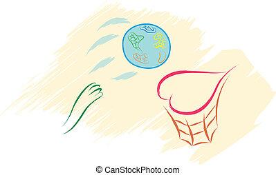 basketball love concept - abstract basketball concept vector...