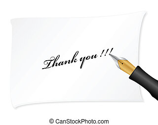 Thank you - White note with text (thank you). Vector...