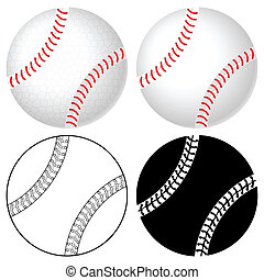 baseball ball set - Baseball ball set isolated on a white...