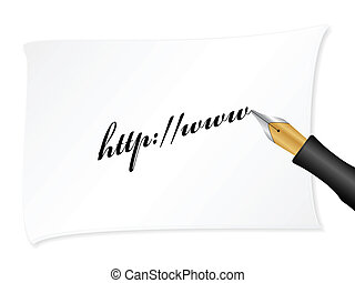 Http - White note with text http:www Vector illustration...