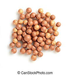 beige cosmetics rouge balls