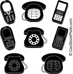 Set of phones, silhouette - Set of phones, vintage and...