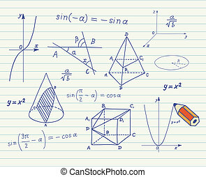 Mathematics sketches on school boar - Mathematics -...