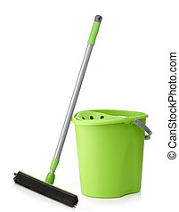 green bucket and mop