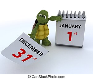 tortoise with a calendar - 3D render of a tortoise with a...
