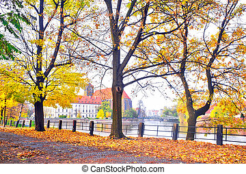 Autumnal scenery in Wroclaw, Poland view on Ostrow Tumski