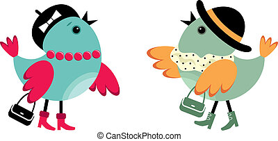 Fashionable birdies - Two birdies in fashionable clothes on...