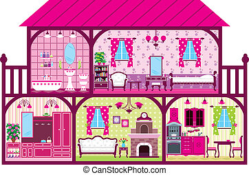 House for the girl in a cut in pink