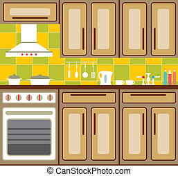 Kitchen furniture. - Kitchen interior with elements of...