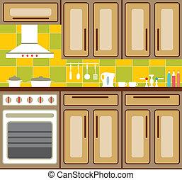 Kitchen furniture. - Kitchen interior with elements of...