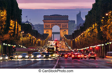 Paris night - Paris, Champs-Elysees at night