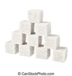 Sugar, a few pieces. Isolated on white.