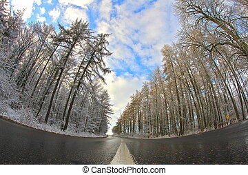 street into the winter - a nice winter landscape on a...