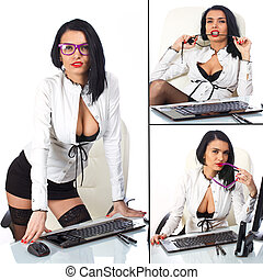 Collage of sexy secretary