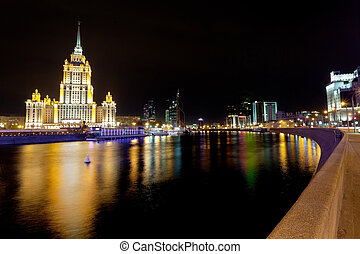 Krasnopresnenskaya embankment in Moscow - view of...