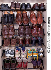 shoes shelf - shoes cabinet with used leather male slippers