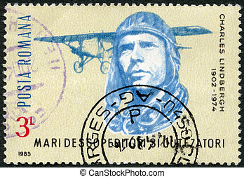 ROMANIA - 1985: shows Charles Lindbergh, Spirit of St Louis...