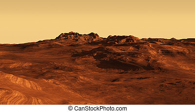 Martian Landscape Illustration - Imaginary Martian desert...
