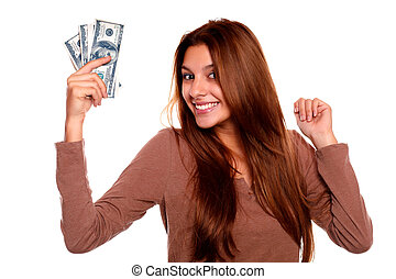 Charming young woman with cash money - Portrait of a...