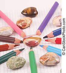 hearts - Hearts of a gem stone with colored crayons